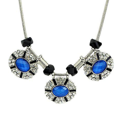 Trendy Round Shape Pendant Women's Necklace - BLUE