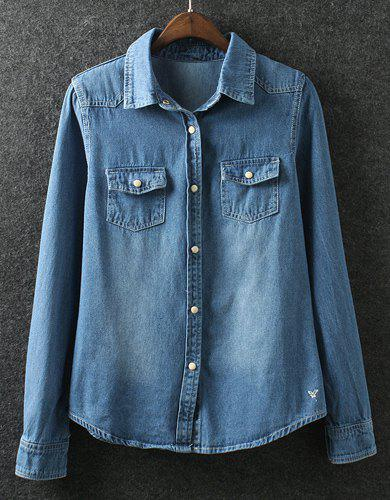 Casual Single Breasted Turn-Down Collar Long Sleeve Denim Blouse For Women - DEEP BLUE S
