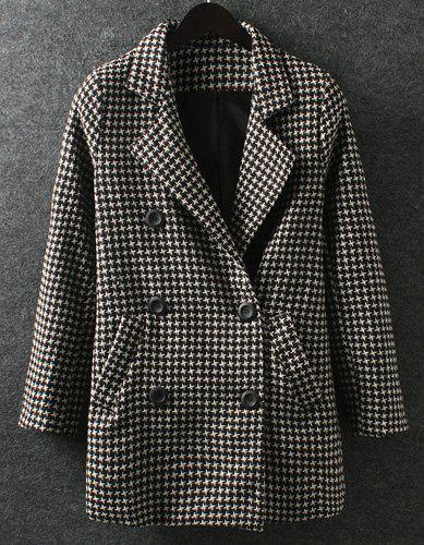 Retro Style Houndstooth Pattern Lapel Double Breasted Long Sleeve Worsted Coat For Women - WHITE/BLACK L