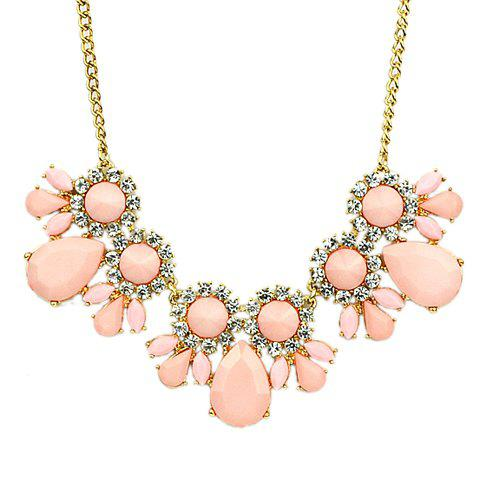Fresh Style Women's Gemstone Embellished Necklace - PINK
