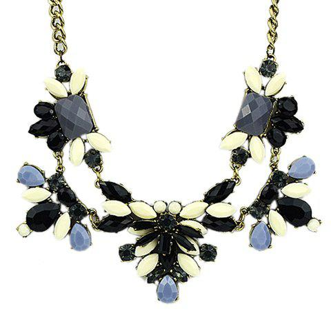Bardian  Faux Gemstone Embellished Necklace - OFF WHITE
