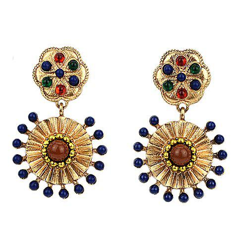 Pair of Ethnic Style Beads Embellished Women's Earrings