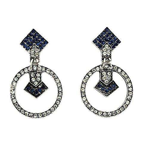 Pair of Delicate Black and White Rhinestone Embellished Women's Earrings