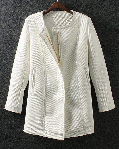 Elegant White Round Collar PU Leather Splicing Long Sleeve Coat For Women