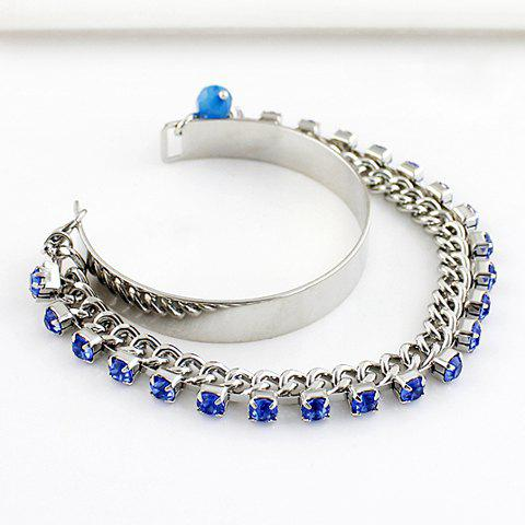 Delicate Blue Gemstone Embellished Women's Bracelet - COLORMIX