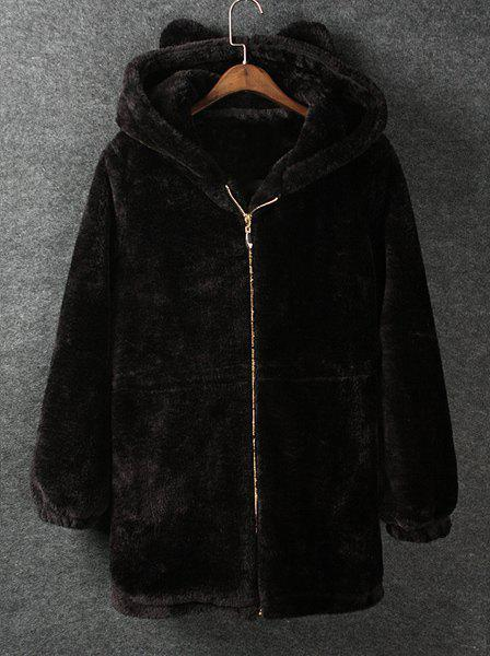 Brief Solid Color Hooded Thicken Faux Fur Drawstring Design Long Sleeve Coat For Women - BLACK S