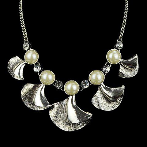 Stylish Chic Women's Pearl Fan Pendant Necklace - AS THE PICTURE