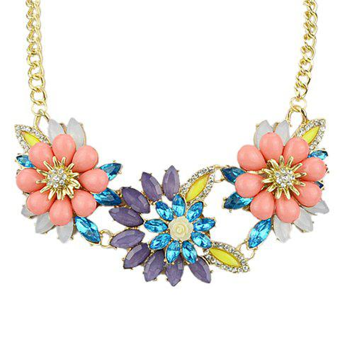 Fresh Charming Women's Colored Rhinestone Floral Pendant Necklace - COLORFUL