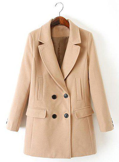Graceful Solid Color Lapel Double-Breasted Long Sleeve Worsted Coat For Women - KHAKI M