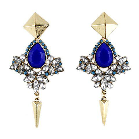Pair of Faux Gemstone Embellished Drop Earrings - AS THE PICTURE