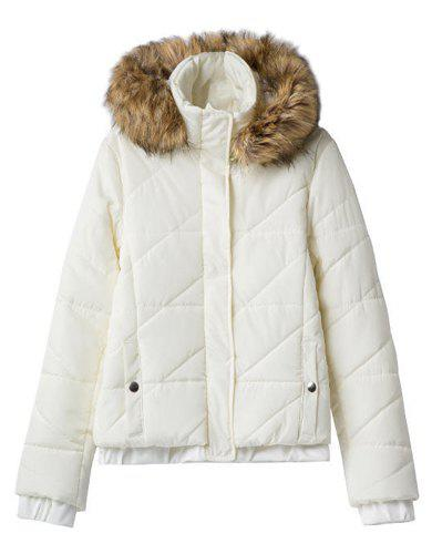 Ladylike Solid Color Detachable Faux Fur Hooded Long Sleeve Thicken Coat For Women - WHITE S