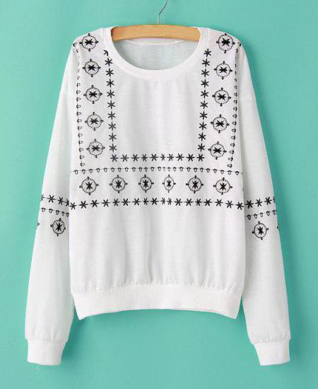 Embroidery Pattern Scoop Collar Long Sleeve Casual Style Women's Sweatshirt