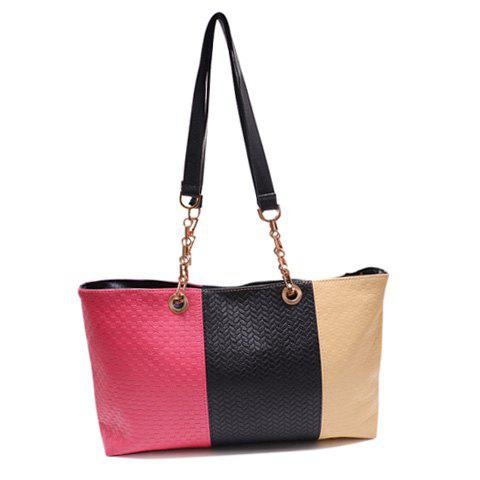 Fashion PU Leather and Color Block Design Shoulder Bag For Women - PLUM