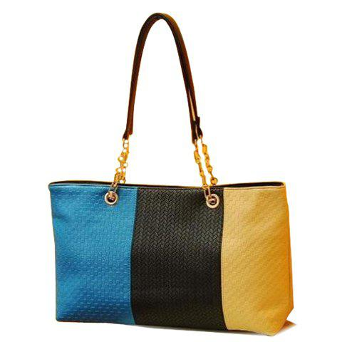 Fashion PU Leather and Color Block Design Shoulder Bag For Women