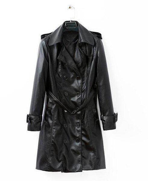 Solid Color Faux Leather Lapel Neck Long Sleeve with Belt Stylish Women's Coat - BLACK M