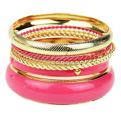 7PCS of Hot Sale Women's Pink Bracelets - PINK