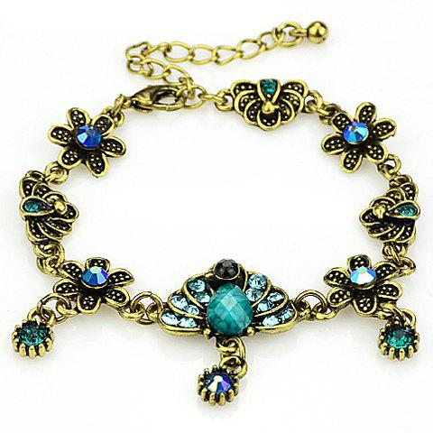 Delicate Gemstone Flower Embellished Women's Bracelet - GREEN