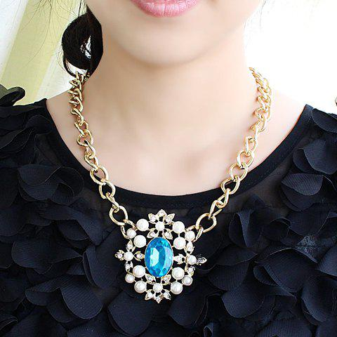 Gorgeous Women's Faux Pearl and Blue Gemstone Embellished Openwork Necklace - AS THE PICTURE
