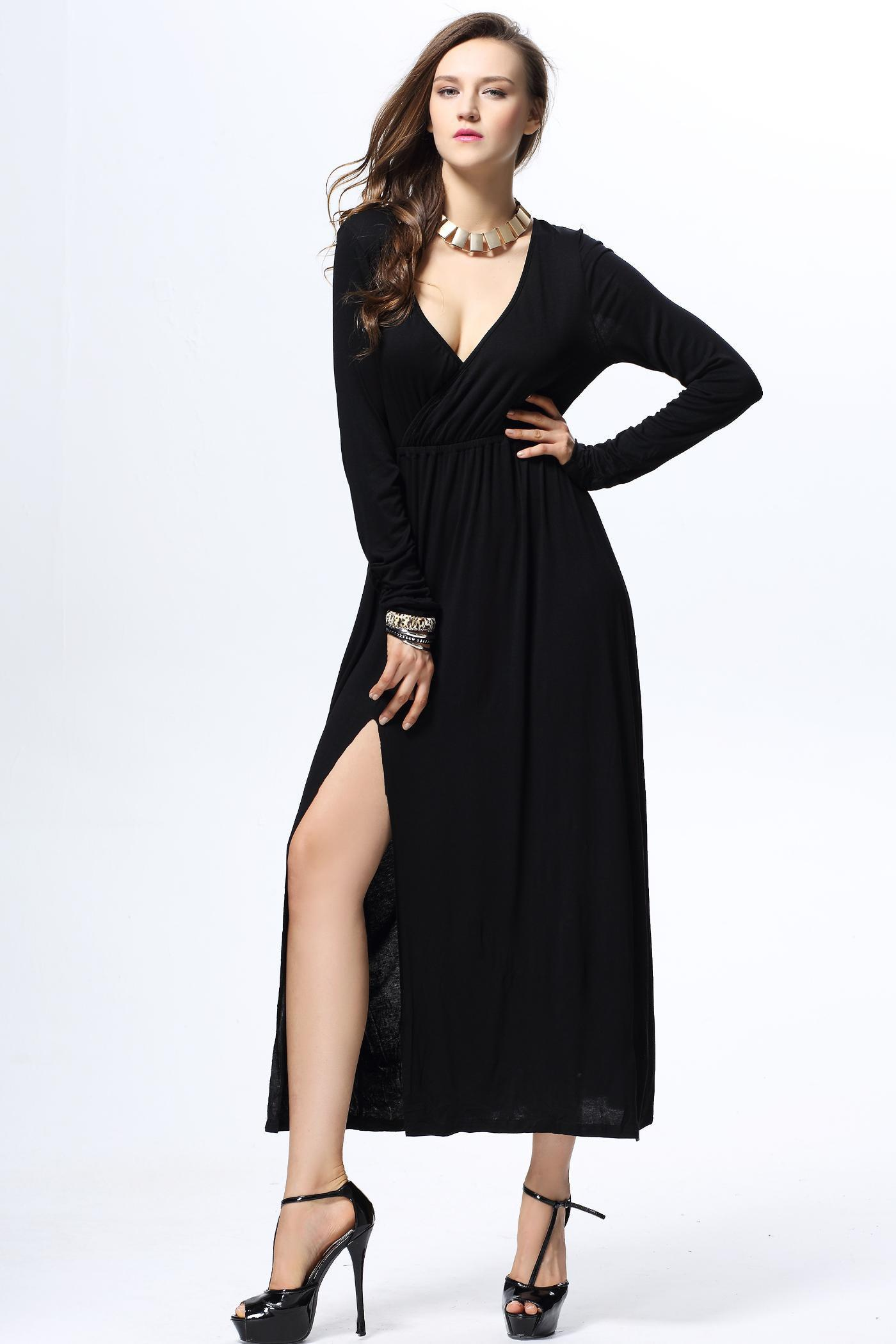 Women's Charming Furcal Embellished Long Sleeves Plunging Neck Black Dress - BLACK L