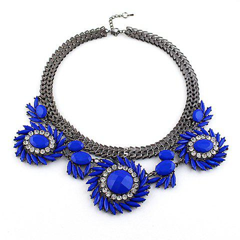 Trendy Gemstone Embellished Sunflower Shape Women's Necklace - BLUE