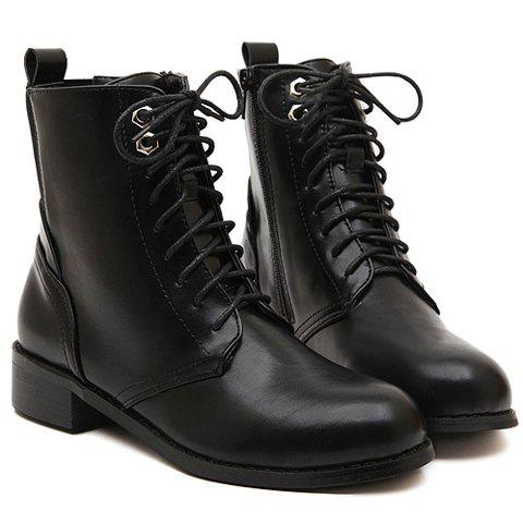 Laconic Style Round Toe and Solid Color Design Short Boots For Women - BLACK 35