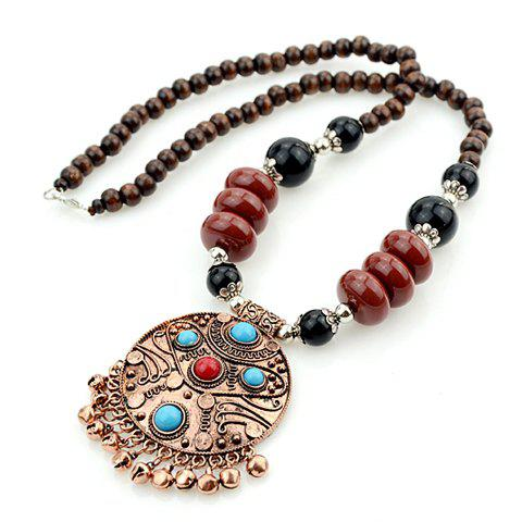 Retro Style Women's Beads Embellished Round Pendant Necklace - AS THE PICTURE