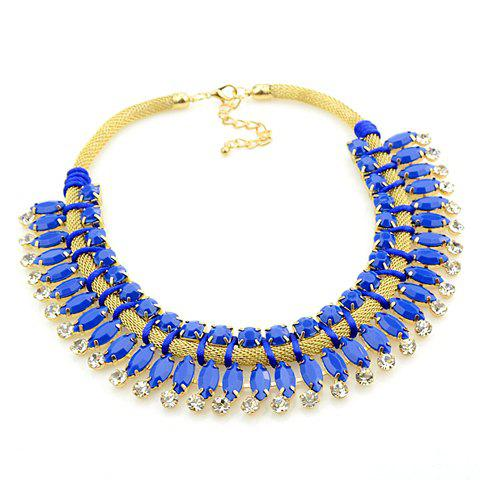 Trendy Solid Color Gemstone Embellished Women's Necklace - BLUE