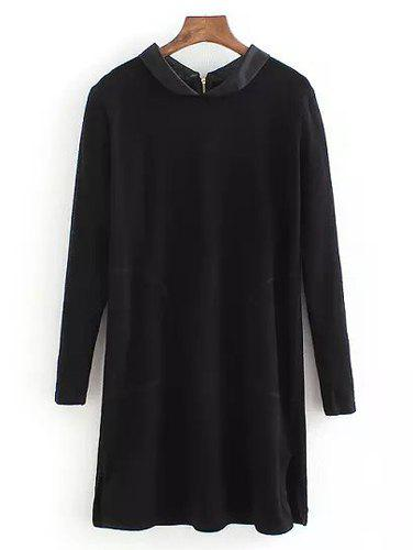 Simple Color Block Peter Pan Collar Long Sleeve Long Sweater For Women - BLACK ONE SIZE(FIT SIZE XS TO M)
