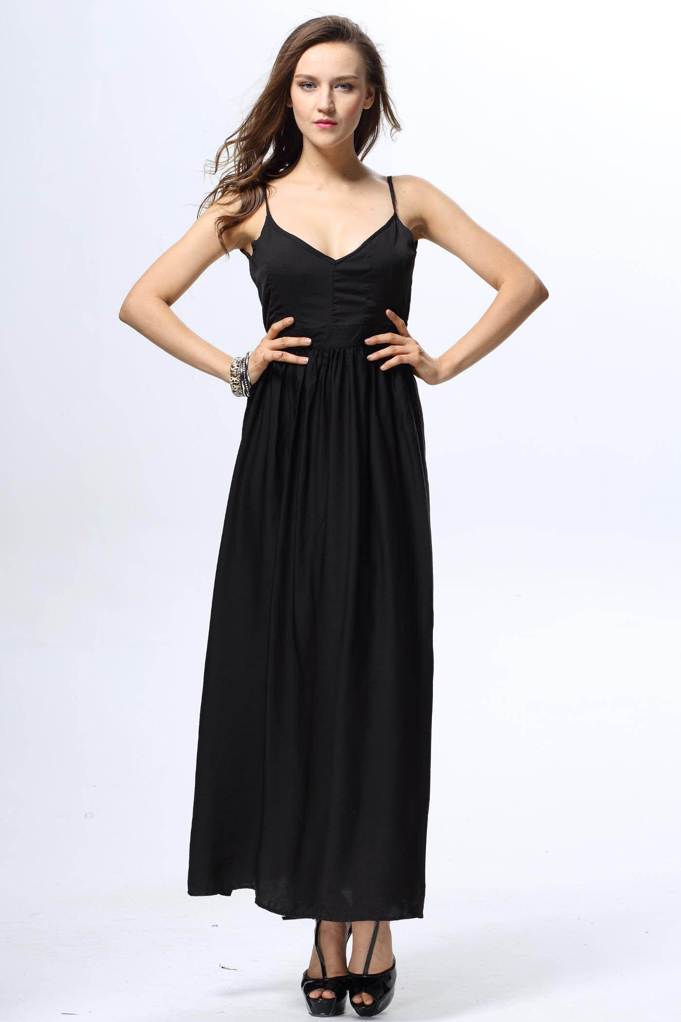 Solid Color Backless Spaghetti Straps Plunging Neck Elegant Style Women's Dress - BLACK S
