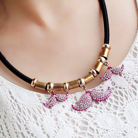 Cute Mustache Shape Pendant Embellished Women's Necklace - ROSE MADDER