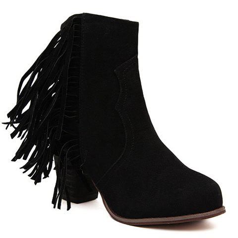 Stylish Fringe and Solid Color Design Short Boots For Women