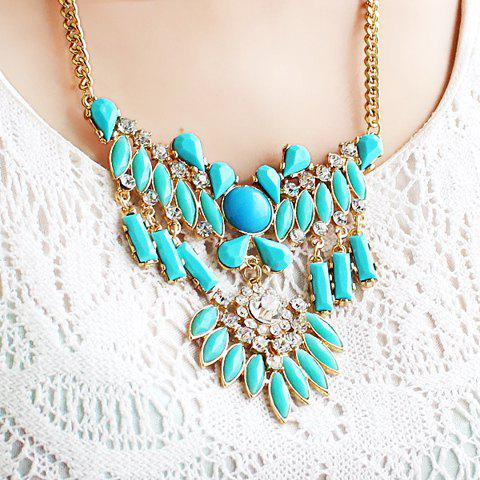 Ethnic Style Colorful Gemstone Embellished Pendant Necklace For Women