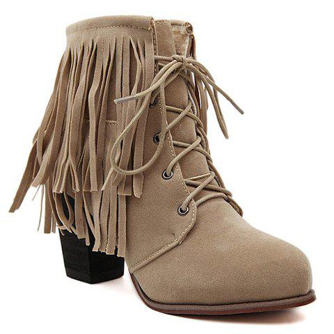Stylish Fringe and Lace-Up Design Short Boots For Women - APRICOT 36