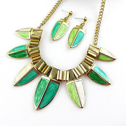 Ethnic Style Solid Color Women's Necklace and A Pair of Earrings - GREEN