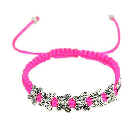 Sweet Chic Women's Butterfly Decorated Rope Weaved Bracelet - ROSE MADDER