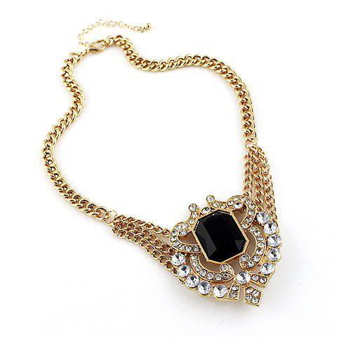 Noble Rhinestone and Gemstone Embellished Women's Necklace - AS THE PICTURE