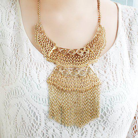 Noble Women's Solid Color Tassel Embellished Necklace