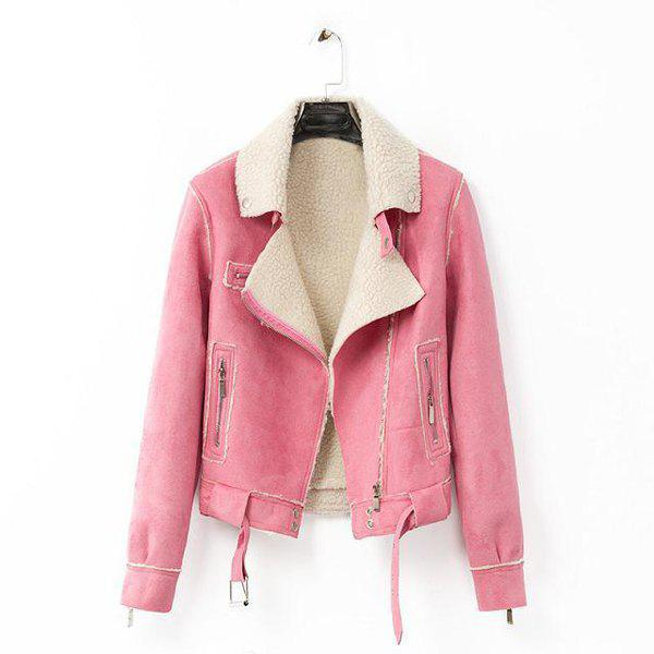 Faux Leather Color Block Turn-Down Collar Long Sleeve Trendy Style Women's Jacket - PINK S