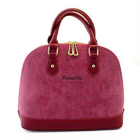Fashion Splicing and Letter Print Design Shoulder Bag For Women - PLUM