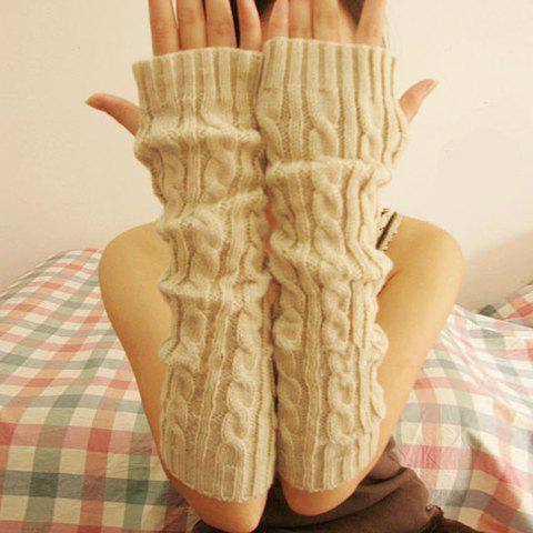 Pair of Chic Hemp Flower Decorated Fingerless Gloves For Women - COLOR ASSORTED