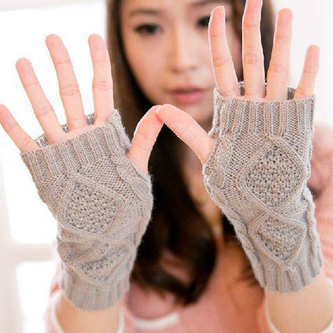 Pair of Stylish Solid Color Fingerless Gloves For Women - COLOR ASSORTED
