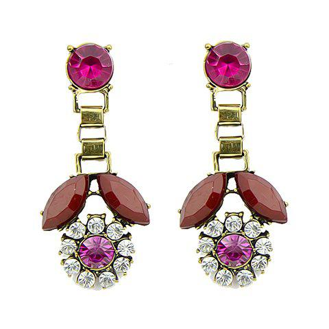 Pair of Stylish Chic Women's Beads Gem Pendant Earrings