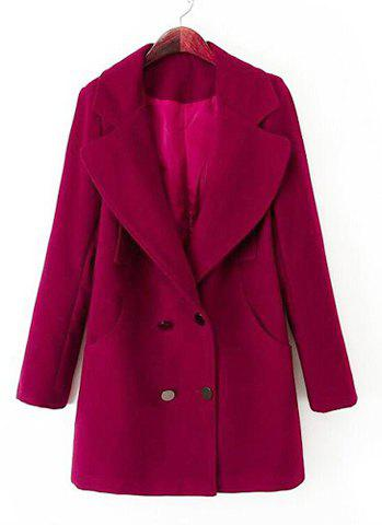 Double-Breasted Solid Color Lapel Collar Long Sleeve Fashionable Women's Coat - RED M