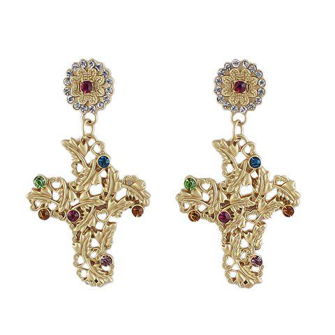 Pair of Trendy Colorful Rhinestone Embellished Women's Earrings - AS THE PICTURE