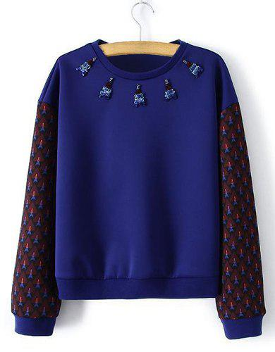 Simple Color Block Round Neck Beaded Embellished Tower Pattern Long Sleeve Sweatshirt For Women -  BLUE