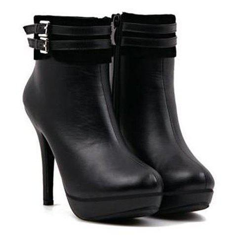 Trendy Buckles and Splice Design Stiletto Short Boots For Women