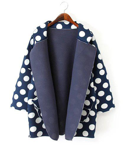 Cute Polka Dot Print Turn-Down Collar Color Block Long Sleeve Coat For Women - PURPLISH BLUE ONE SIZE(FIT SIZE XS TO M)