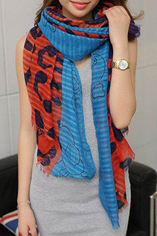 Stylish Printed Color Splicing Voile Scarf For Women