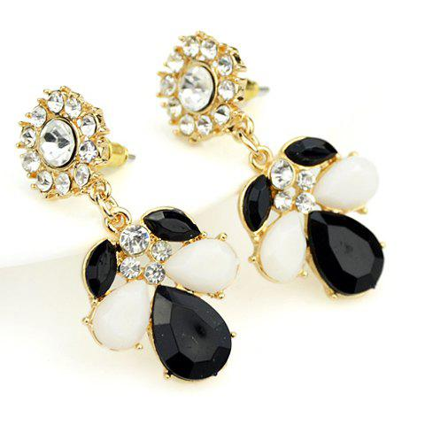 Pair of Faux Gemstone Embellished Flower Shape Earrings - BLACK