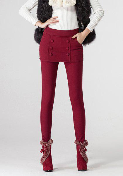 Stylish Elastic Waist Solid Color Flocky Women's Culotte - WINE RED M